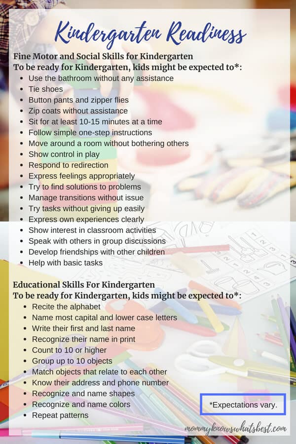 Kindergarten Readiness List