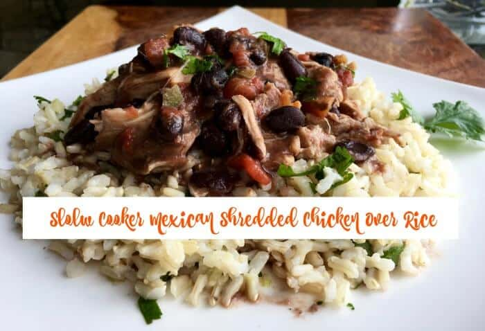 slow cooker mexican shredded chicken over rice