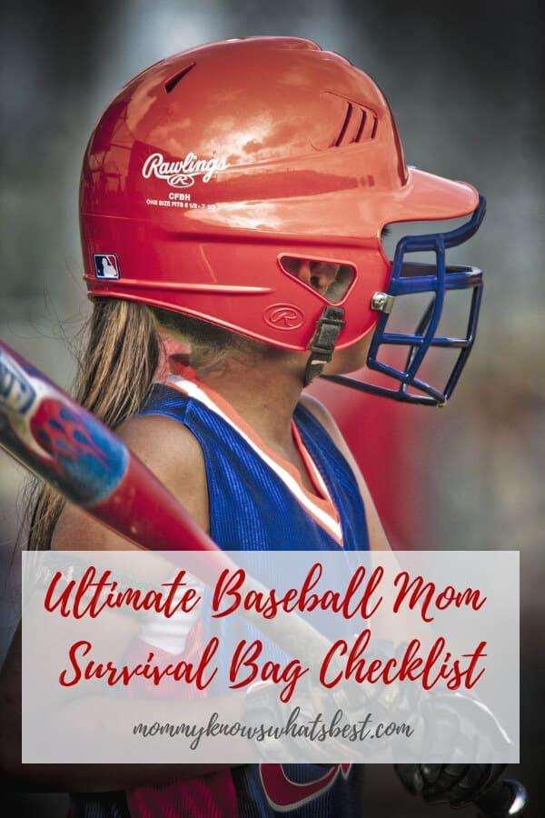 Ultimate Baseball Mom Survival Bag Checklist: Perfect for baseball moms who want to survive baseball season. Free printable!