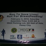 "What happened to the ""Run to save lives! Run for Breastfeeding!"" event at MOA?"