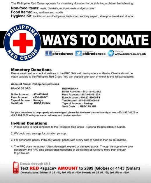 Where to send Donations for Yolanda Victims