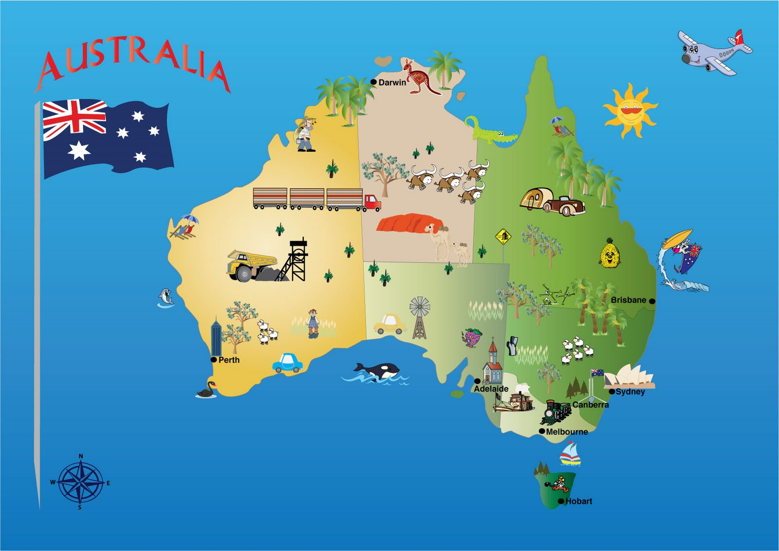 Australian Map Flag And Country Facts