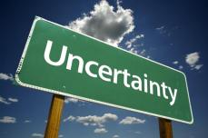 green uncertainty sign