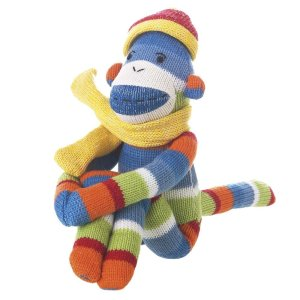 MVP Brands Small Striped Sock Monkey Pogo, Blue