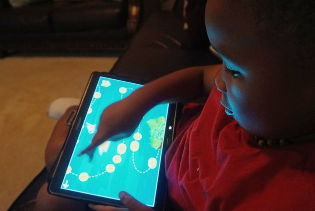Child spending time using reading app
