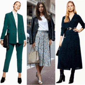 Three style ideas for what to wear on an interview.  Suit, jacket skirt and top and wrap dress.