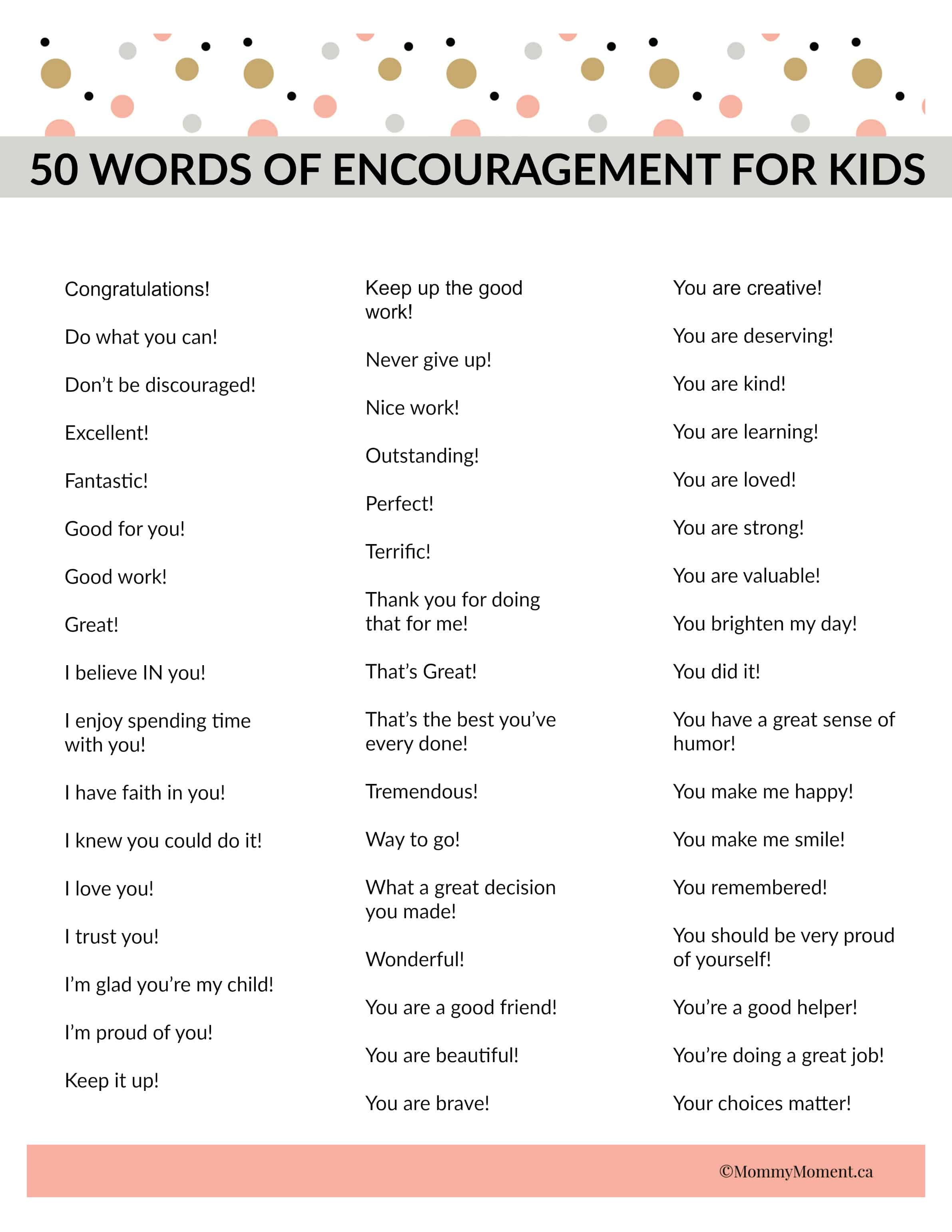 50 Words Of Encouragement For Kids
