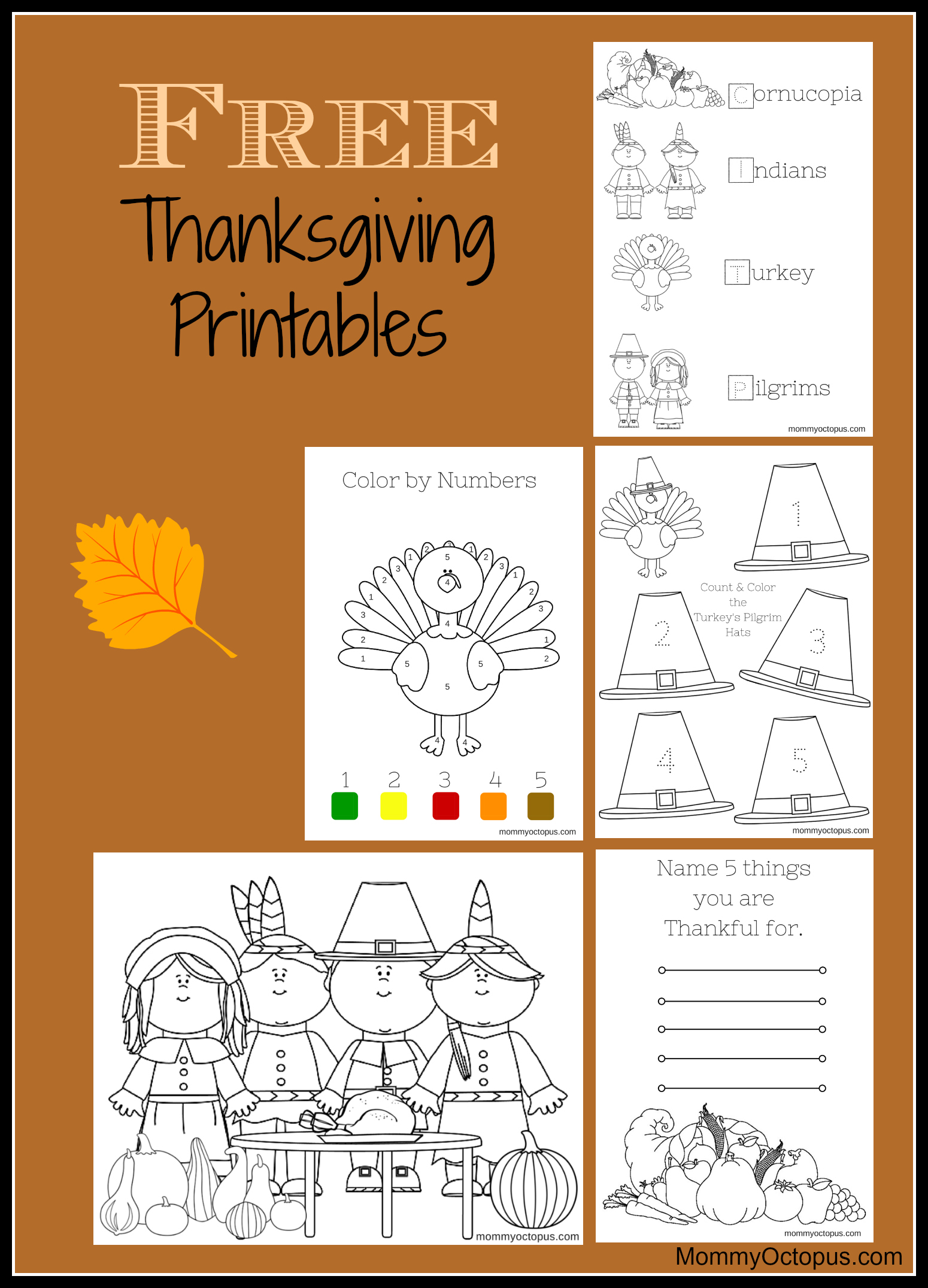 Free Thanksgiving Printable Activity Sheets