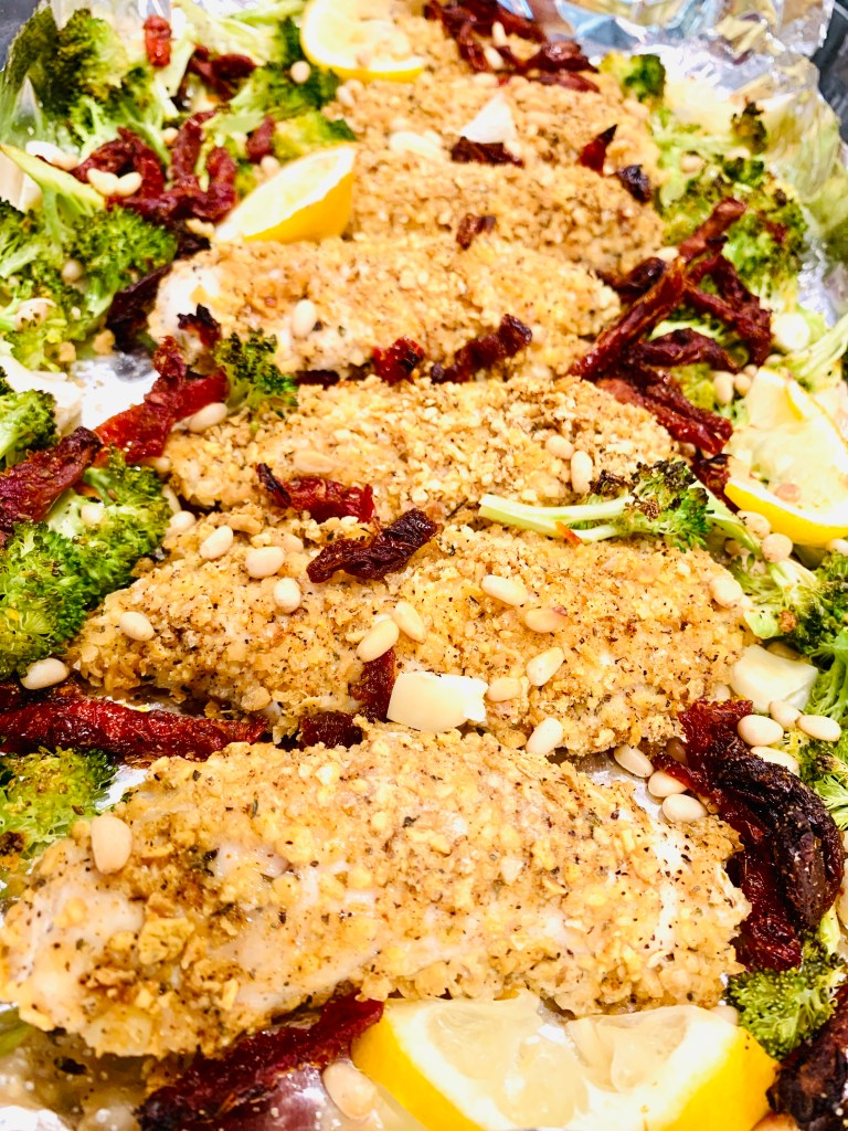 One Pan GF Chicken Tenders with Broccoli and Sun-dried Tomatoes