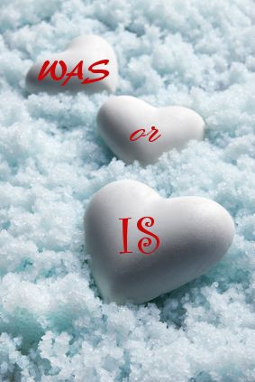 Blank white Hearts on Snow Background. Small Depth of Field. Blue tinted