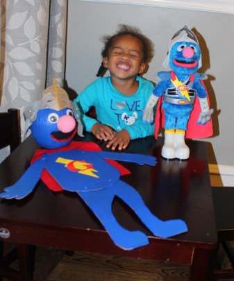 Quinn and her Super Grover and Super Grover the Pumpkin