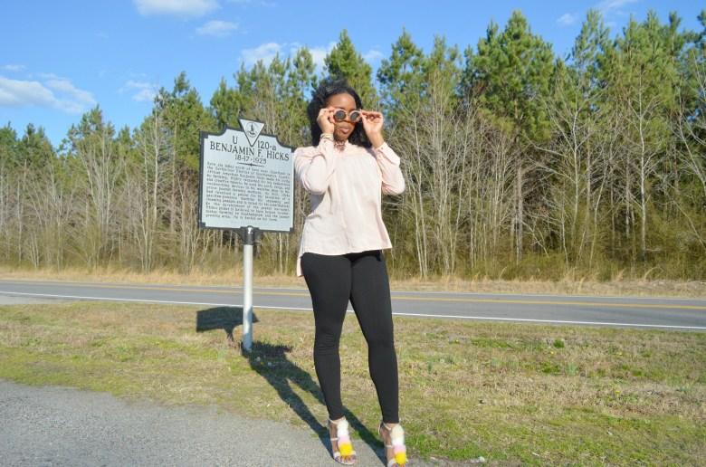 Pink shirt- black leggings- virginia fashion blogger- mommy blogger- black mommy blogger virginia-