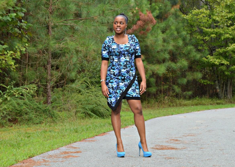 Blue flower dress- blue dress- blue shoes- Jessica Simpson Shoes- Happy black woman