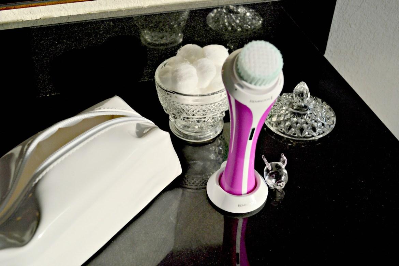 remington facial brush- facial brush- rechargeable facial brush- lavender nail polish-facial brush travel bag