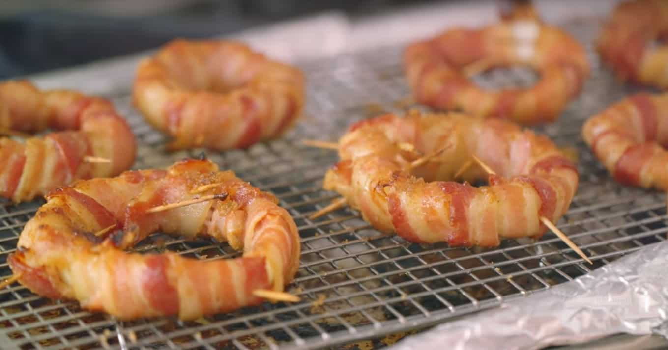 Smoked Bacon-Wrapped Onion Rings w/ Sriracha Mayo #Recipe