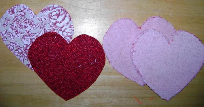 terry cloth cut into heart shapes