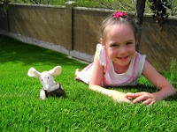 jelly cat mouse plush on grass with little girl