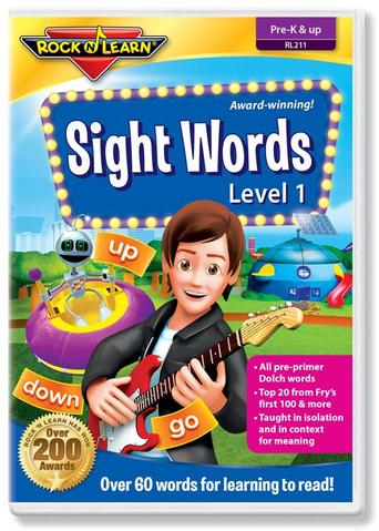 rock and learn sightwords dvd cover with cartoon graphic of man