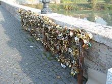 Ponte Milvio bridge with love padlocks