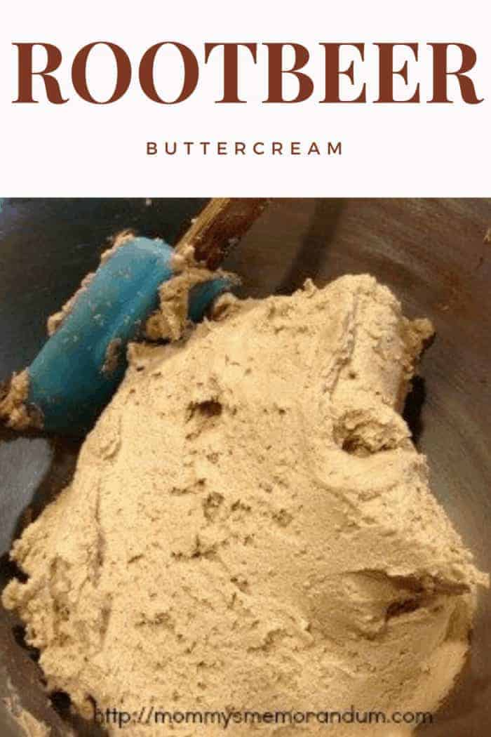 rootbeer buttercream in mixer bowl