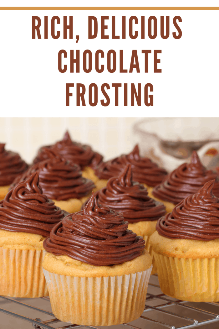 Closeup of cup cakes with chocolate icing on a cooling rack
