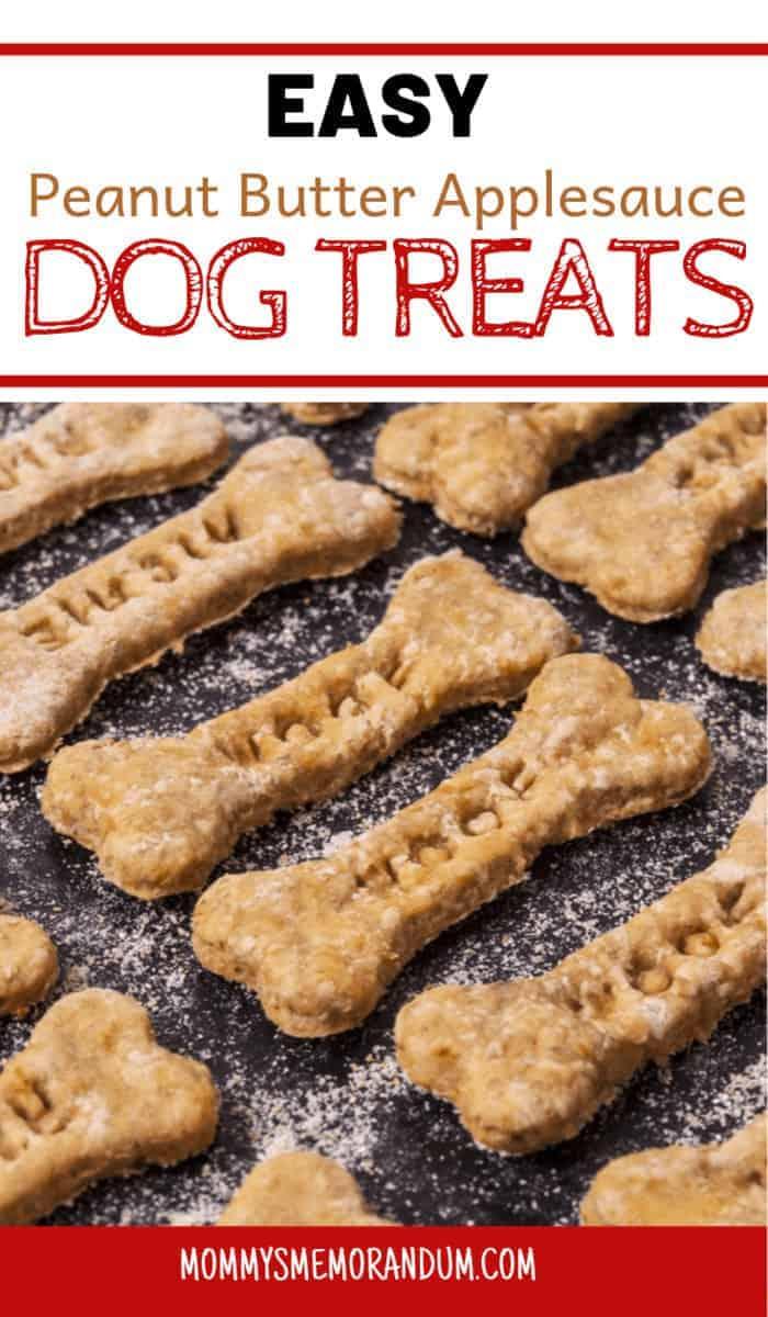 homemade easy peanut butter applesauce dog treats on backing sheet