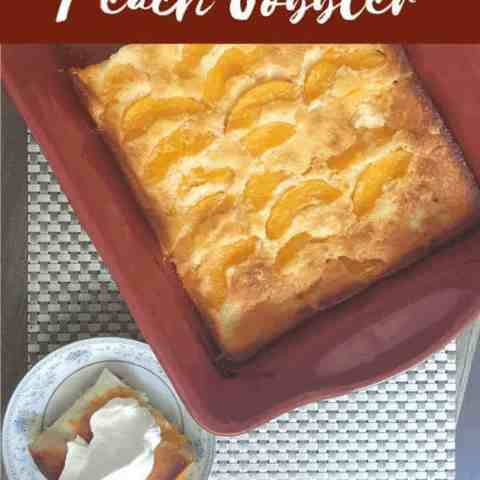 This easy peach cobbler is a delicious dessert with the juicy flavors of peaches. The best part, it's just 5 ingredients.