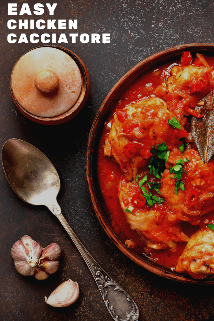 This easy chicken cacciatore is a classic Italian Dish with tomatoes, onions, garlic and braised chicken.