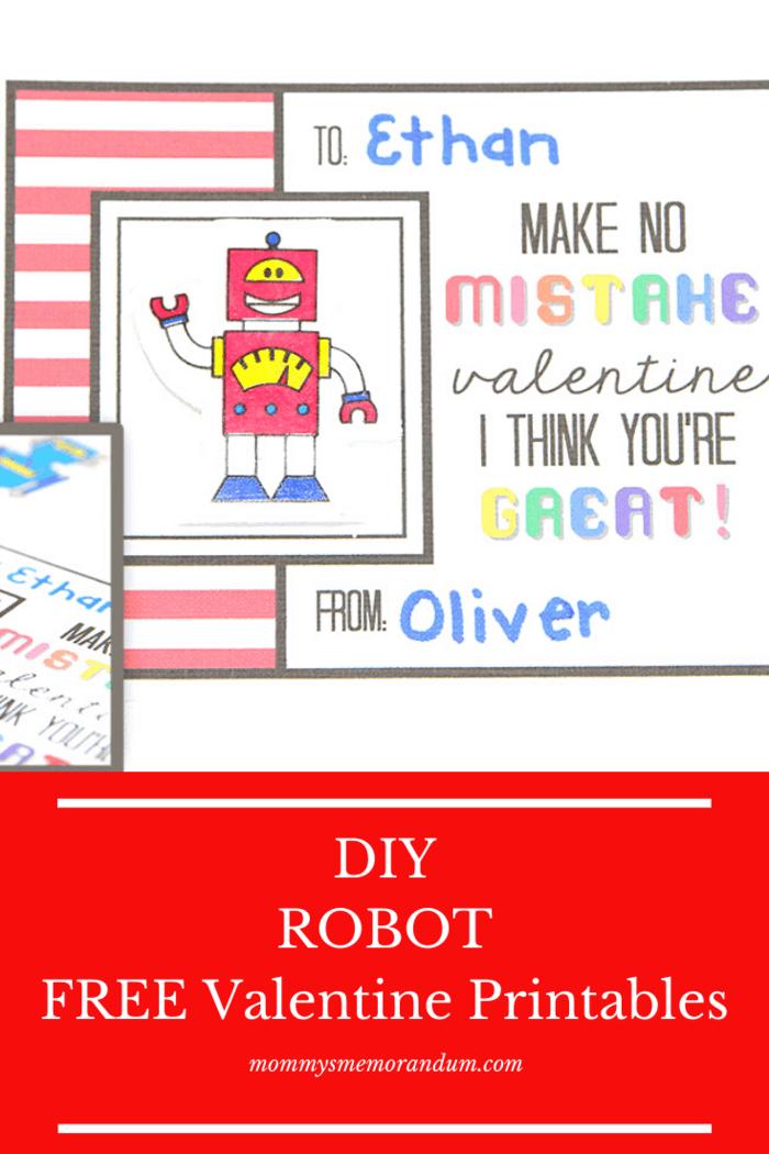DIY ROBOT Free Printable Valentine