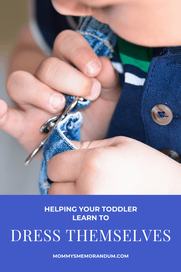 Once your child is capable of putting on simple items with ease you can begin to introduce them to snaps, buttons, and zippers.