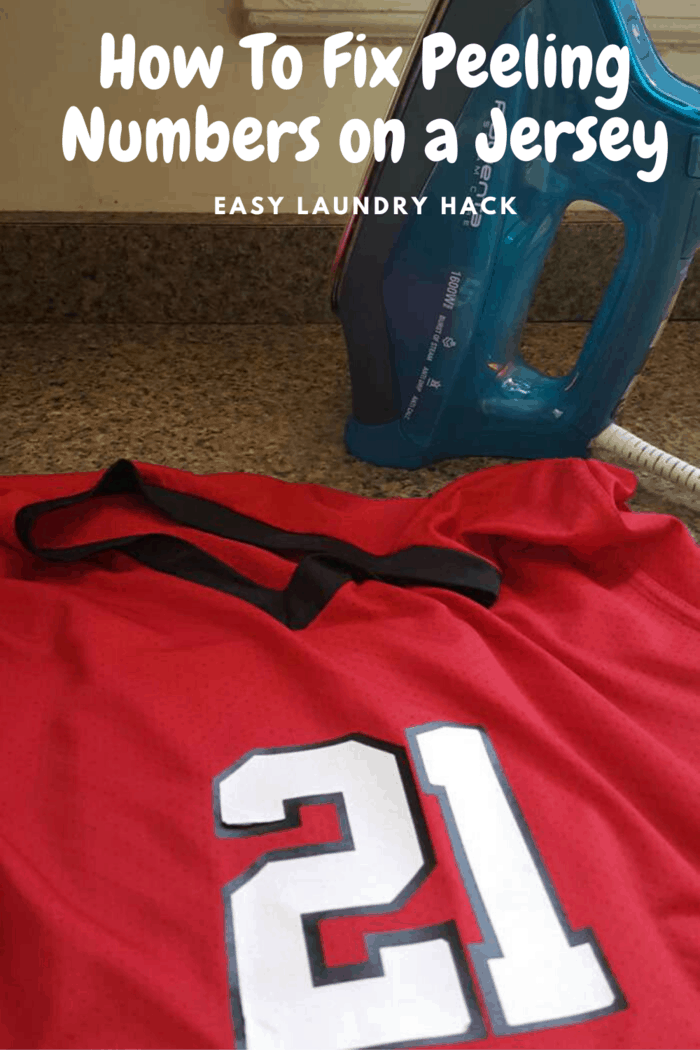 red jersey with repaired white number 21