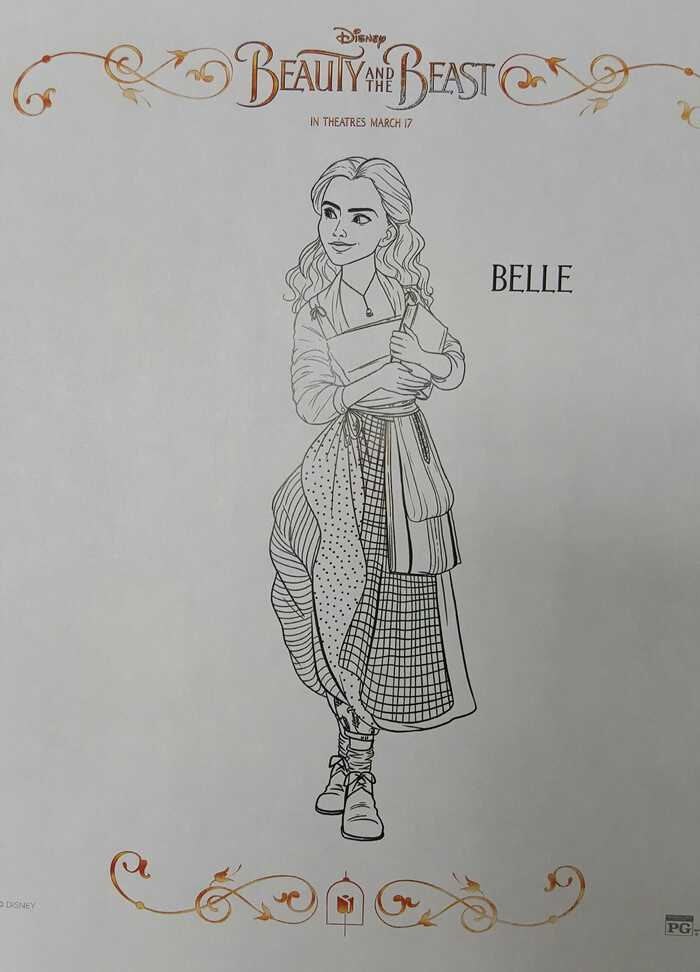 Beauty and the Beast coloring sheet Belle with books