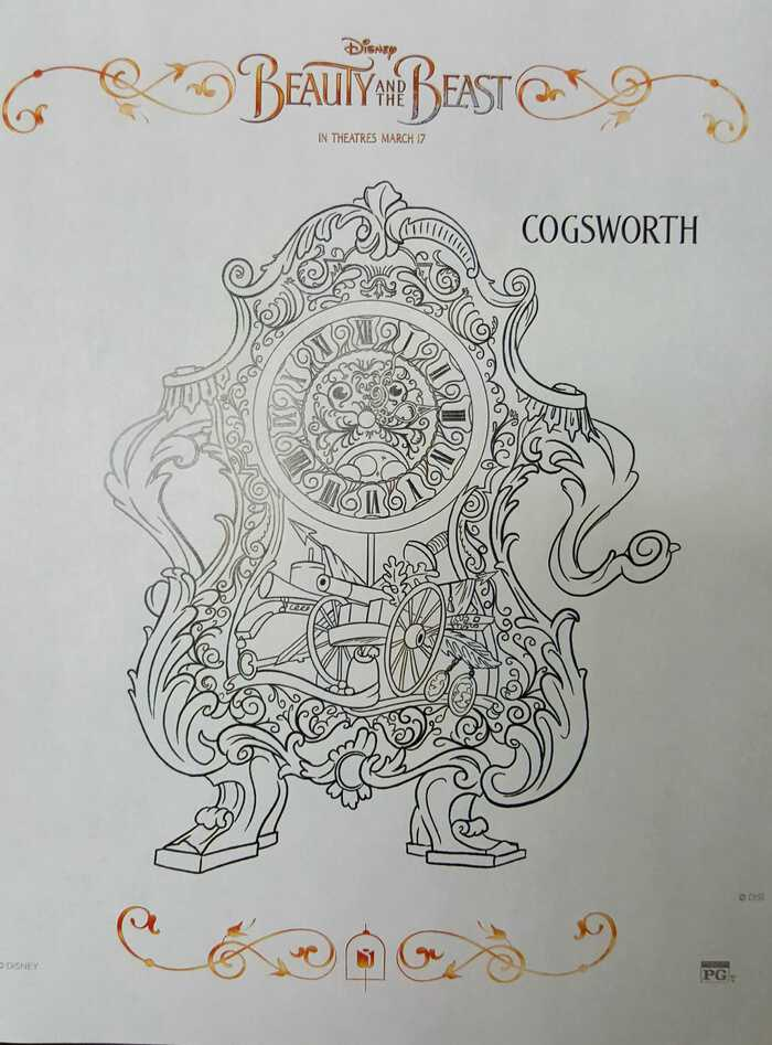 Beauty and the Beast coloring sheets Cogsworth