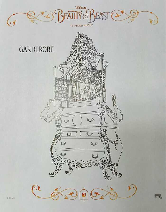 Beauty and the Beast coloring sheets garderobe