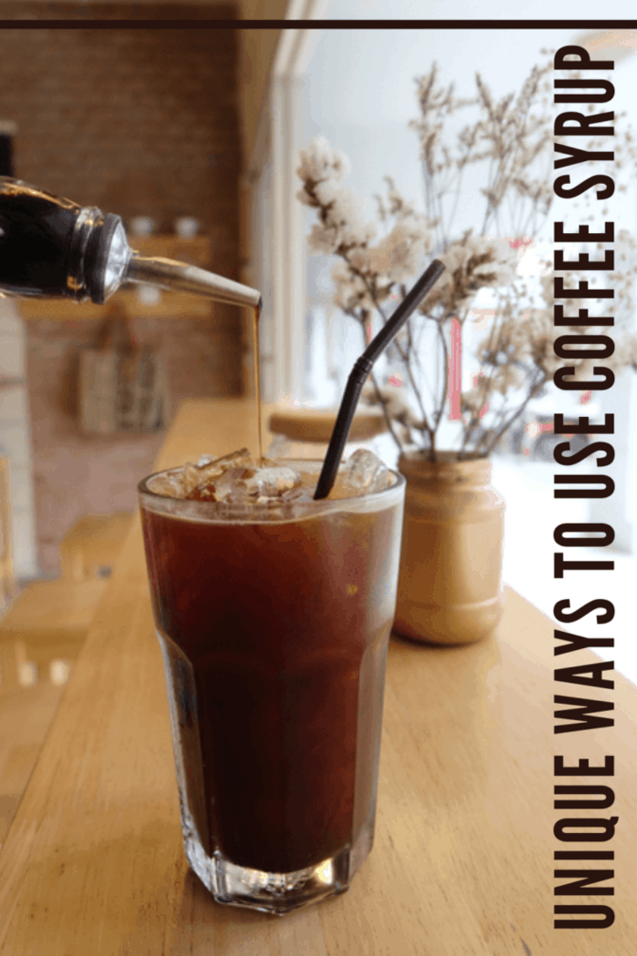 iced coffee with coffee syrup being added