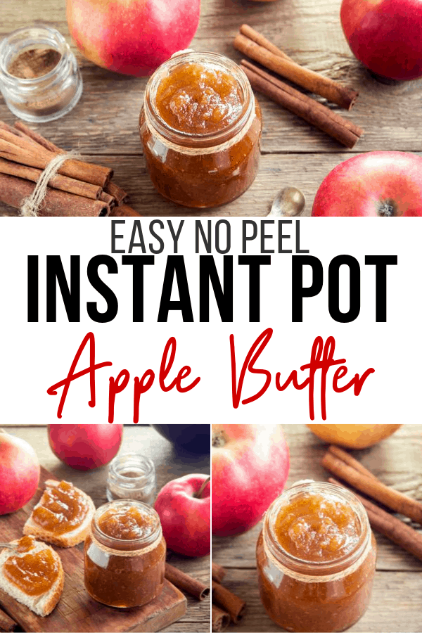 This no-peel Easy Instant Pot Apple butter recipe so it's incredibly easy to make and cooking the apples in the Instant Pot takes a fraction of the time as the traditional method. #applebutter #instantpotapplebutter #applejam #applerecipes #fallrecipes #preserves