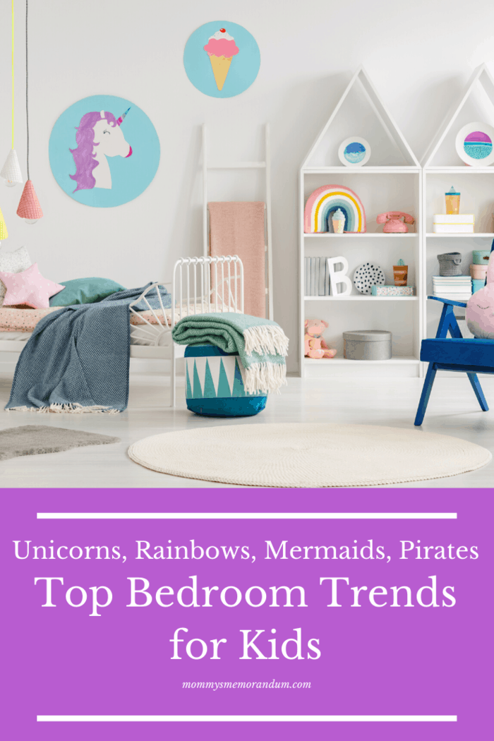 bedroom trends for kids: Trends for unicorns, rainbows, mermaids, pirates and nautical are big business at the moment.