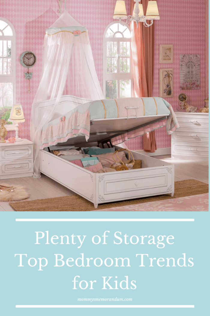 There are the usual dresser and bookshelf, and there are single ottoman beds for kids that utilize the bed frame for storage space.