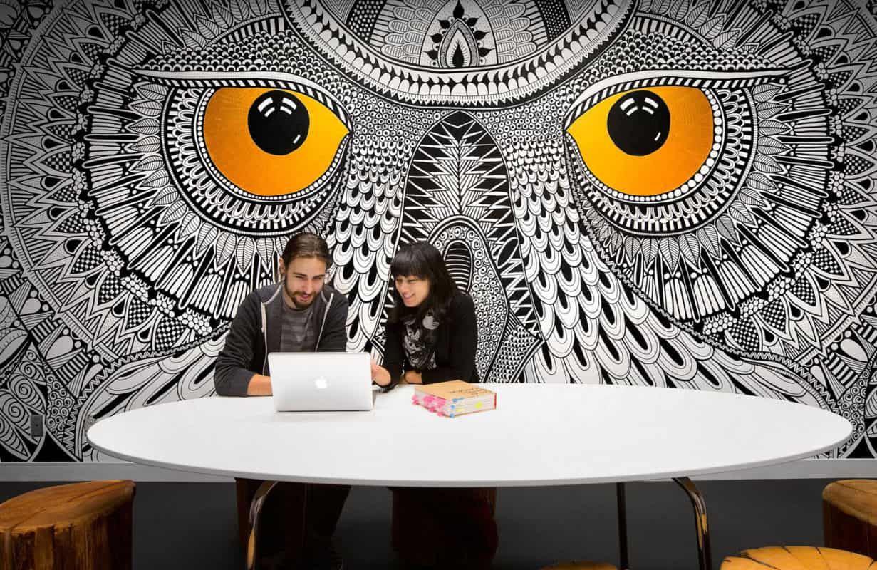 Hootsuite spotted boardroom mural by behance