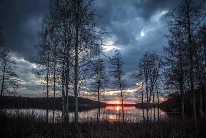 finland lake at sunset