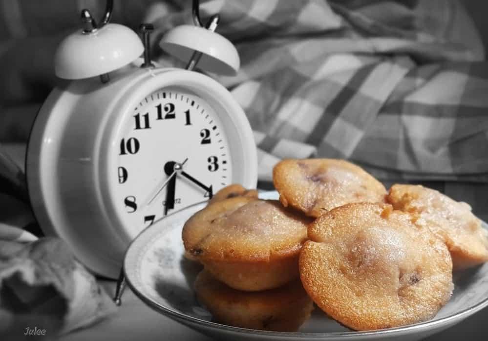 little bites next to alarm clock