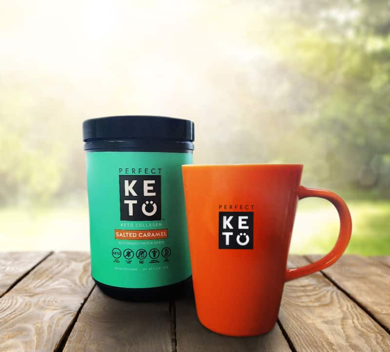 perfect keto collagen powder with orange cup