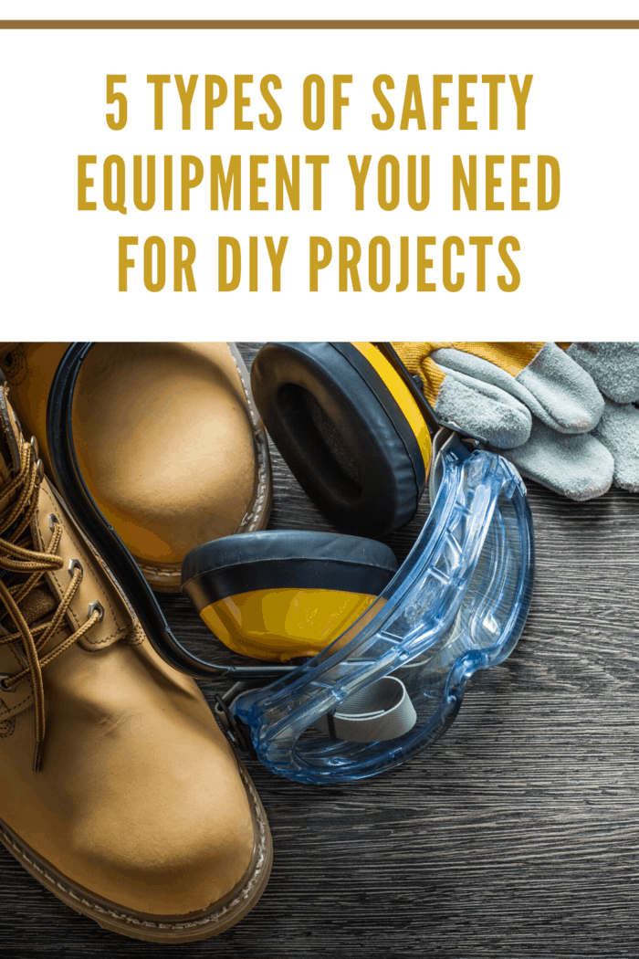 safety boots, noise canceling ear phones, safety goggles and gloves