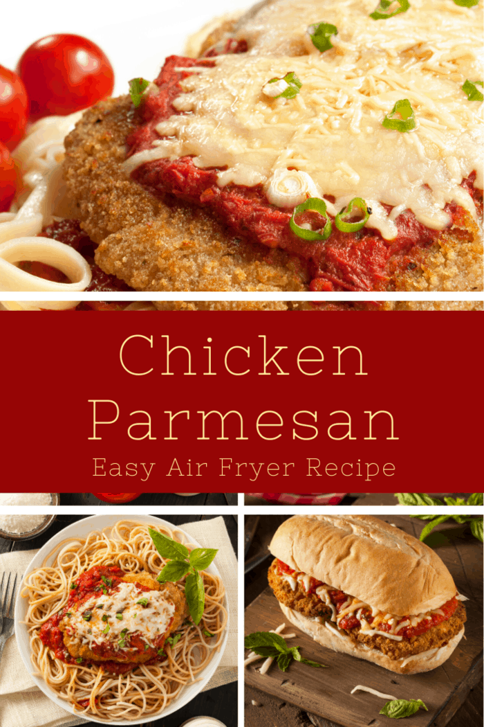 Need dinner inspiration? This Air Fryer Chicken Parmesan Recipe is quick and easy. It is one of my families favorites! #airfryerchickenparmesan #chickenparmesan #airfryer #airfryerchicken