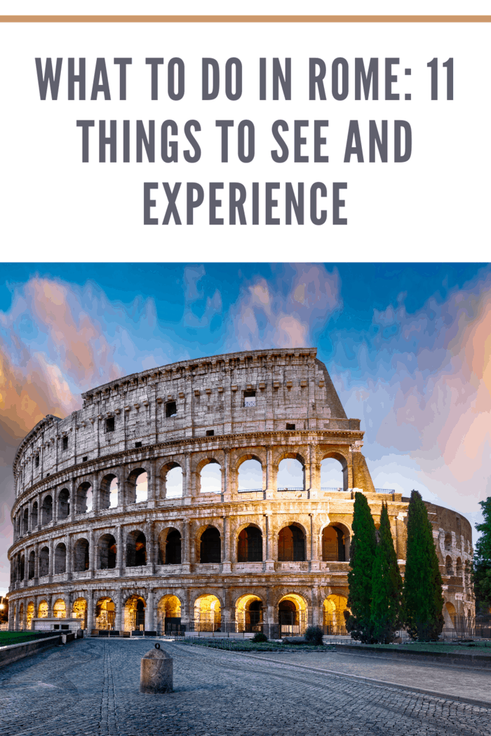 What to Do in Rome: Colosseum in Rome at sunset with lights, Italy