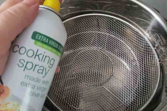 spray the basket with non-stick cooking spray