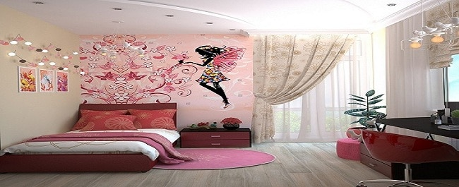 girls bedroom Using Murals in Interior Design