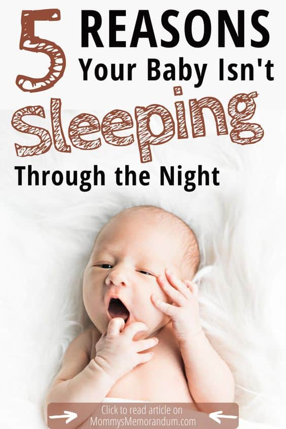 newborn baby with finger in mouth, holding cheek with other hand instead of sleeping through the night