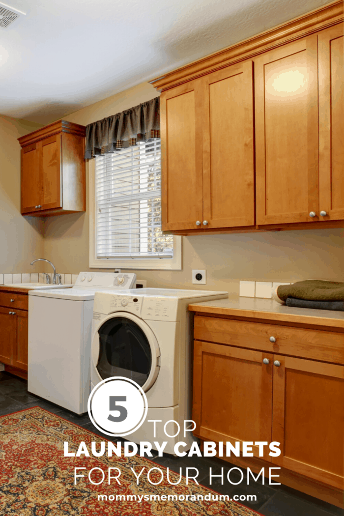 washer and dryer with cabinets hanging from ceiling