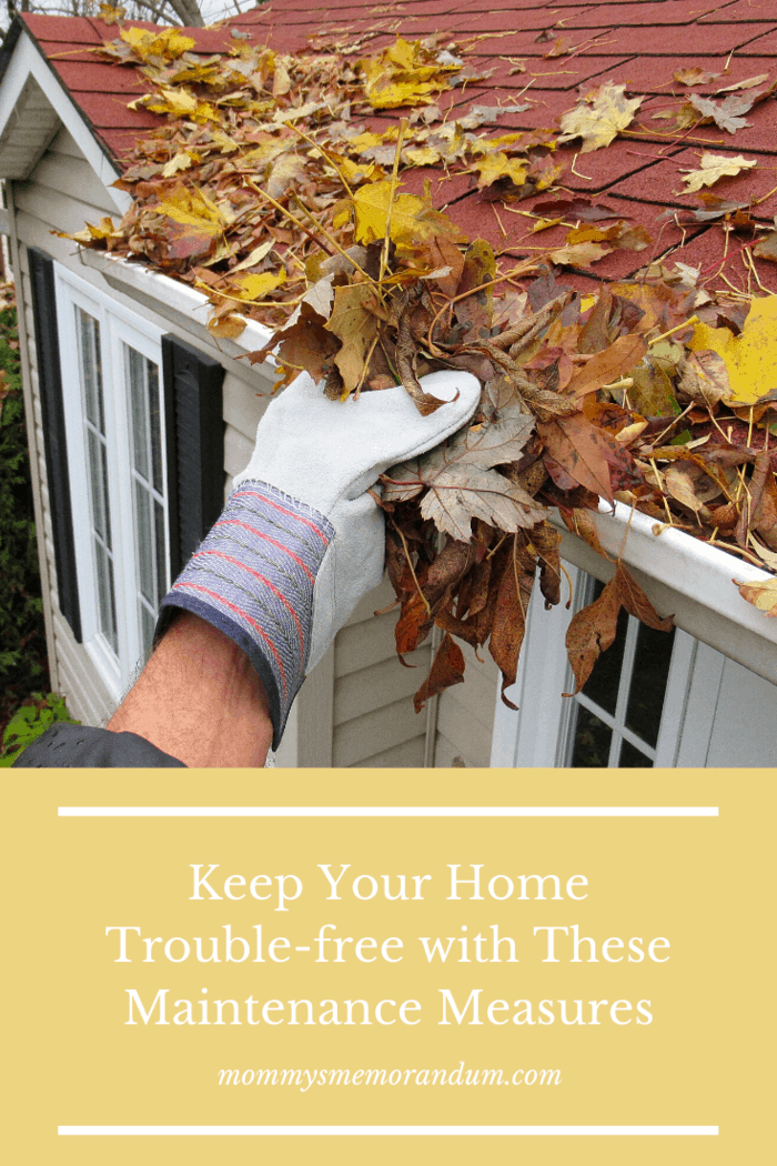 Inspect your walls, roof, windows, and gutters.